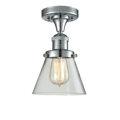 Cavet 1-Light Semi Flush Mount Fixture Finish: Polished Chrome, Shade Color: Clear