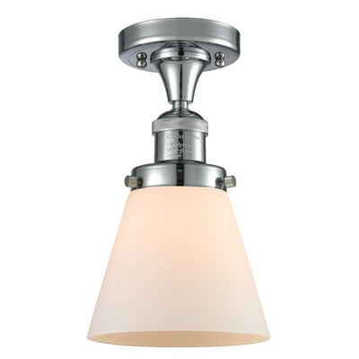 Cavet 1-Light Semi Flush Mount Fixture Finish: Polished Chrome, Shade Color: Matte White Cased