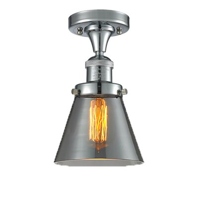 Cavet 1-Light Semi Flush Mount Fixture Finish: Polished Chrome, Shade Color: Smoked