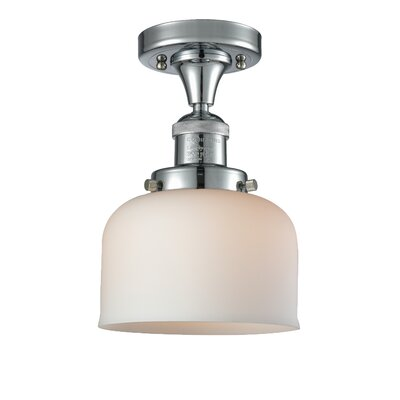 Adalhard 1-Light Semi Flush Mount Fixture Finish: Polished Nickel, Shade Color: Matte White Cased