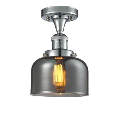 Adalhard 1-Light Semi Flush Mount Fixture Finish: Polished Nickel, Shade Color: Smoked