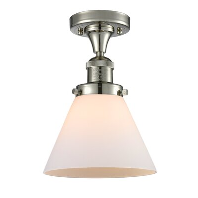 Fabio 1-Light Semi Flush Mount Fixture Finish: Polished Nickel, Shade Color: Matte White Cased