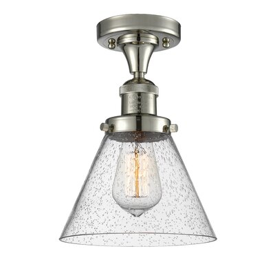 Albertine 1-Light Semi Flush Mount Fixture Finish: Polished Nickel