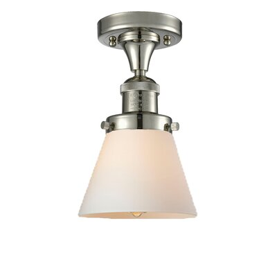 Cavet 1-Light Semi Flush Mount Fixture Finish: Polished Nickel, Shade Color: Matte White Cased