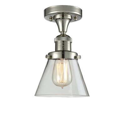 Cavet 1-Light Semi Flush Mount Fixture Finish: Polished Nickel, Shade Color: Clear