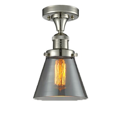 Cavet 1-Light Semi Flush Mount Fixture Finish: Polished Nickel, Shade Color: Smoked