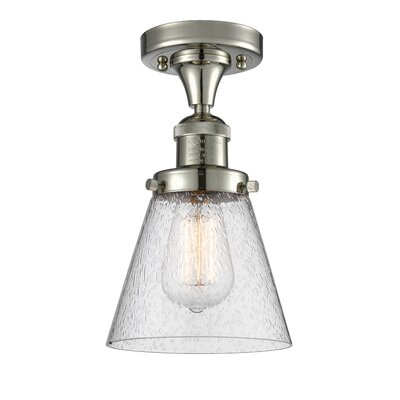 Aliz 1-Light Semi Flush Mount Fixture Finish: Polished Nickel