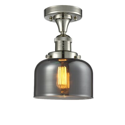 Adalhard 1-Light Semi Flush Mount Fixture Finish: PolishedNickel, Shade Color: Smoked