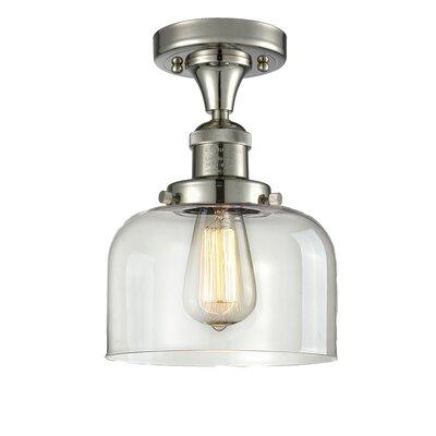 Adalhard 1-Light Semi Flush Mount Fixture Finish: Antique Brass, Shade Color: Clear