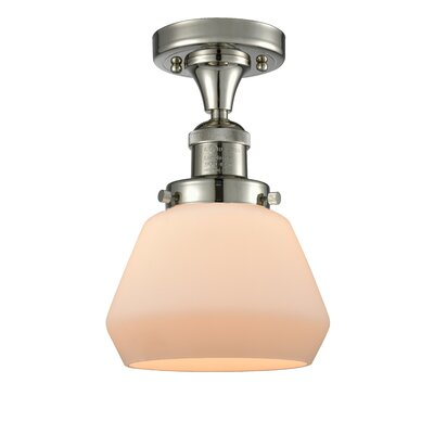 Dupree 1-Light Semi Flush Mount Fixture Finish: Polished Nickel, Shade Color: Matte White Cased