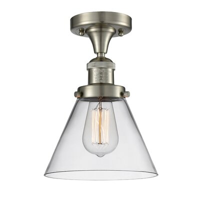 Fabio 1-Light Semi Flush Mount Fixture Finish: Brushed Satin Nickel, Shade Color: Clear