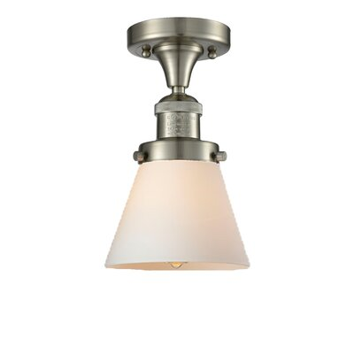 Cavet 1-Light Semi Flush Mount Fixture Finish: Brushed Satin Nickel, Shade Color: Matte White Cased