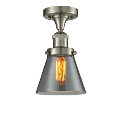 Cavet 1-Light Semi Flush Mount Fixture Finish: Brushed Satin Nickel, Shade Color: Smoked