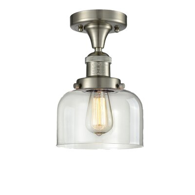 Adalhard 1-Light Semi Flush Mount Fixture Finish: Oiled Rubbed Bronze, Shade Color: Clear