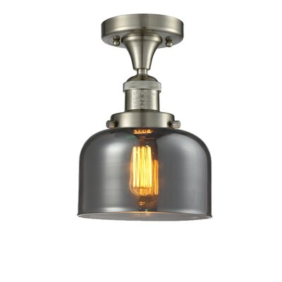 Adalhard 1-Light Semi Flush Mount Fixture Finish: Oiled Rubbed Bronze, Shade Color: Smoked