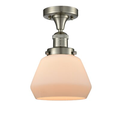 Dupree 1-Light Semi Flush Mount Fixture Finish: Brushed Satin Nickel, Shade Color: Matte White Cased