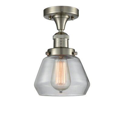 Dupree 1-Light Semi Flush Mount Fixture Finish: Brushed Satin Nickel, Shade Color: Clear
