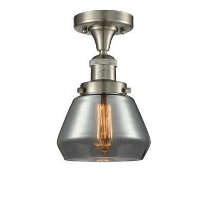 Dupree 1-Light Semi Flush Mount Fixture Finish: Brushed Satin Nickel, Shade Color: Smoked