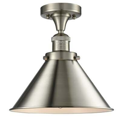 Stonecrest 1-Light Semi Flush Mount Fixture Finish: Brushed Satin Nickel