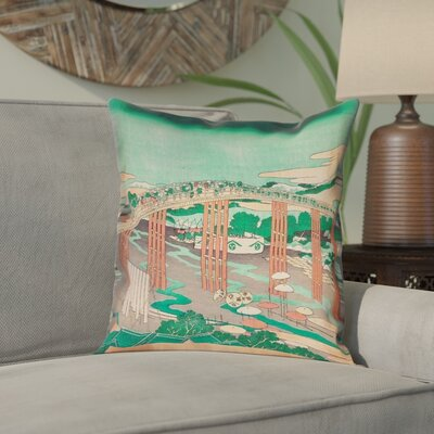 Enya Japanese Bridge Double Sided Print Pillow Cover Color: Green/Peach, Size: 18 x 18