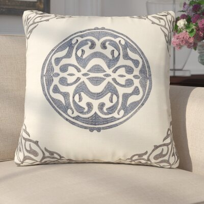 Behling Medallion Throw Pillow Color: Gray/Blue