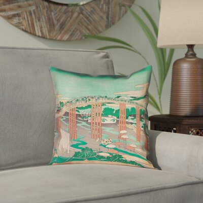 Enya Japanese Bridge Waterproof Throw Pillow Color: Green/Peach, Size: 18 x 18