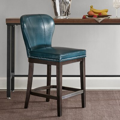Zhora 26 Bar Stool Color: Blue/Brown