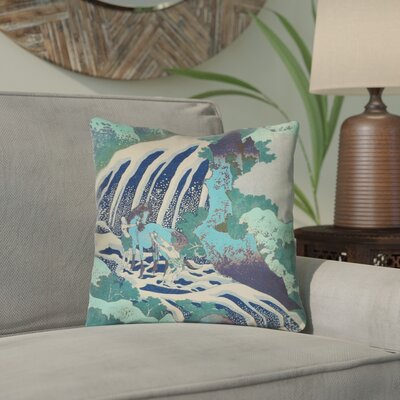 Channelle and Waterfall in Teal Outdoor Throw Pillow Color: Teal, Size: 18 x 18
