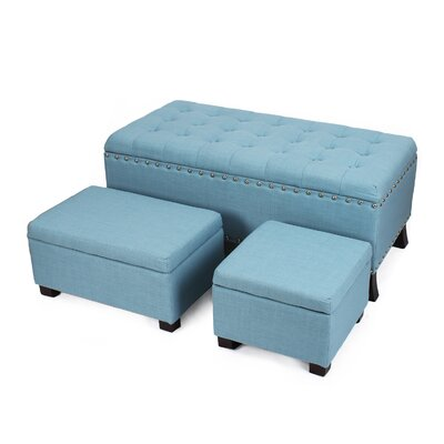 Chlo� Button Tufted Nailhead Trim Storage 3 Piece Ottoman Set Upholstery: Blue