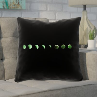 Enciso Moon Phases Square Throw Pillow Color: Green, Size: 14 x 14