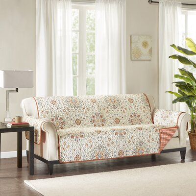 Floral Cotton Printed Reversible Box Cushion Sofa Slipcover Upholstery: Microfiber Striped Red