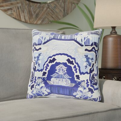 Maurice Silk Throw Pillow Size: 18 H x 18 W x 4 D, Color: Navy, Filler: Polyester