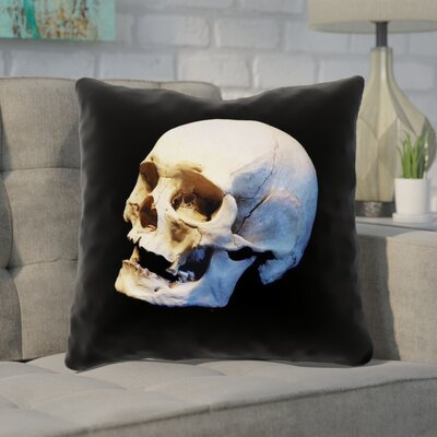 Mensa Skull Throw Pillow with Zipper Size: 14 x 14