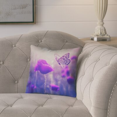 Mariani Butterfly and Rose Square Pillow Cover Color: Purple, Size: 14 H x 14 W