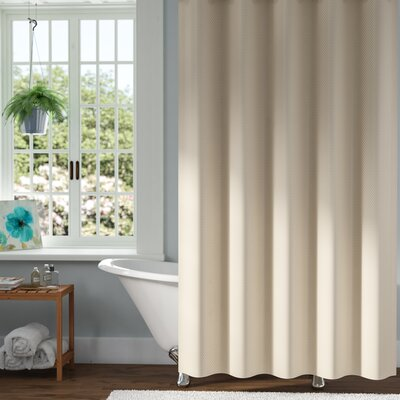 Mahler Waffle Weave Vinyl Shower Curtain Color: Cream