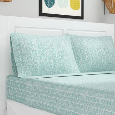 Ervin Chevron Printed Sheet Set Size: Queen, Color: Light Blue
