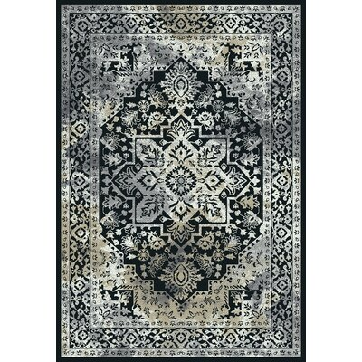 Yannick Heather Black/Gray Area Rug Rug Size: Rectangle 53 x 73