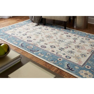 Meagan Beige/Blue Area Rug Rug Size: Rectangle 5 x 8