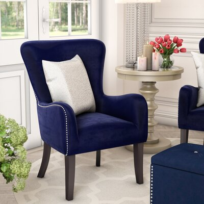 Kaat Velvet Wingback Chair Upholstery: Ink Navy