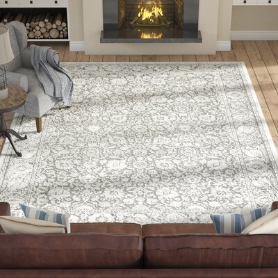 Tilleul Traditional Persian Distressed Gray Area Rug Rug Size: Rectangle 93 x 123
