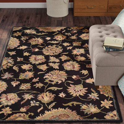 Alycia Hand-Tufted Wool Black Area Rug Rug Size: Rectangle 9 x 12