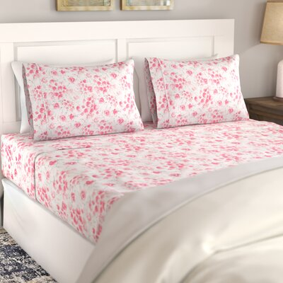 Avonmore Poppy 400 Thread Count 100% Cotton Sheet Set Size: Full, Color: Red