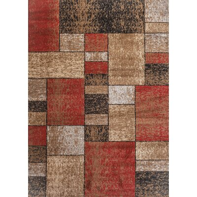 Clough Squares Red/Brown Area Rug Rug Size: Rectangle 2 x 3