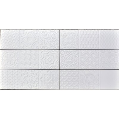 Countryside Deco 4 x12 Ceramic Subway Tile in Magnolia