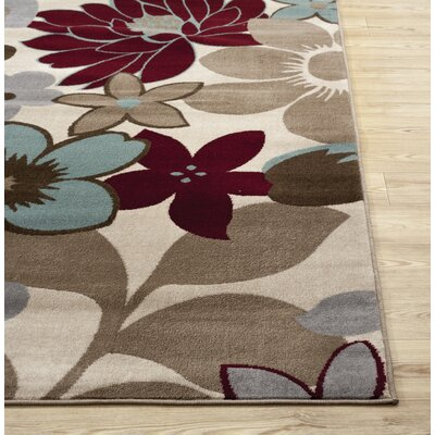 Dubois Floral Ivory/Beige Area Rug Rug Size: Rectangle 3'3
