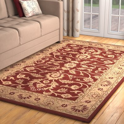 Morley Hand-Woven Wool Red/Gold Area Rug Rug Size: Rectangle 5 x 8
