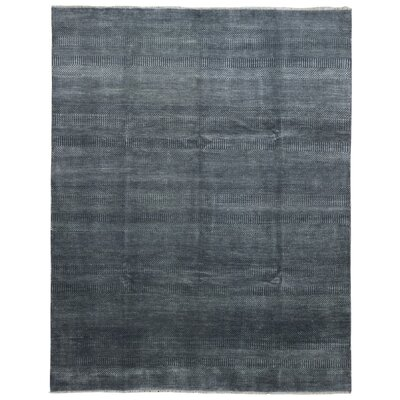 One-of-a-Kind Guifford Grass Hand Woven Silk Black Area Rug
