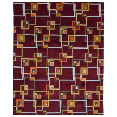 One-of-a-Kind Angelique Modern Design Oriental Hand Woven Wool Maroon/Orange Area Rug