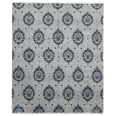 One-of-a-Kind Ezine Knot Oushak Oriental Hand Woven Wool Gray/Black Area Rug