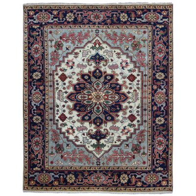 One-of-a-Kind Roselle Oriental Hand Woven Wool Blue/Navy Area Rug